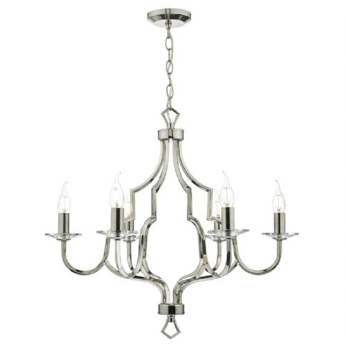 Nerva 6 Light Pendant Polished Nickel/ Crystal